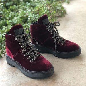 Prada leather trimmed maroon velvet boots